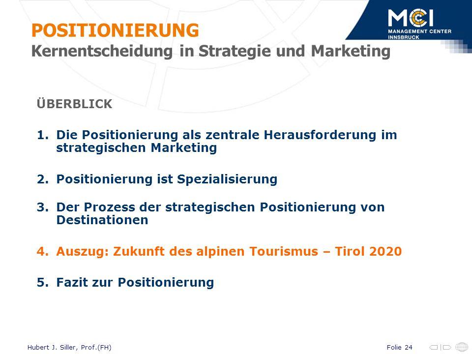 Folie 24Hubert J. Siller, Prof.(FH) ÜBERBLICK 1.Die Positionierung als zentrale Herausforderung im strategischen Marketing 2.Positionierung ist Spezia