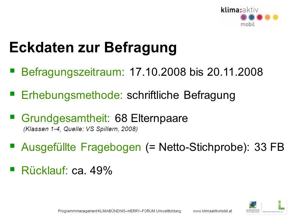 Programmmanagement KLIMABÜNDNIS–HERRY–FORUM Umweltbildung www.klimaaktivmobil.at Eckdaten zur Befragung Befragungszeitraum: 17.10.2008 bis 20.11.2008