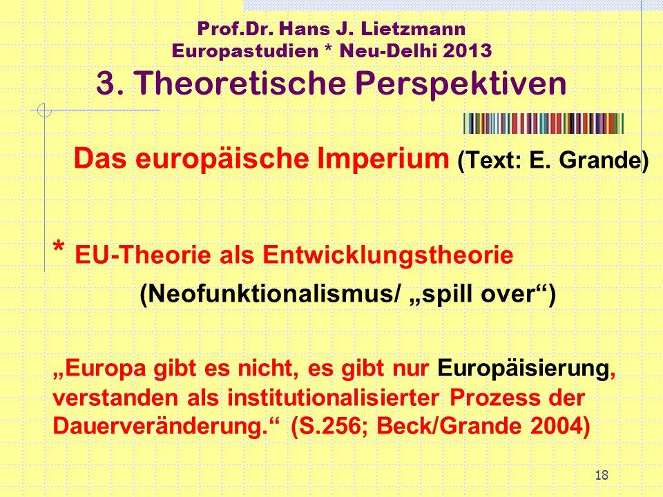 18 Prof.Dr. Hans J. Lietzmann Europastudien * Neu-Delhi 2013 3.