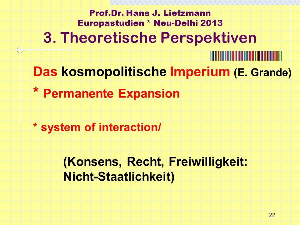 22 Prof.Dr. Hans J. Lietzmann Europastudien * Neu-Delhi 2013 3.
