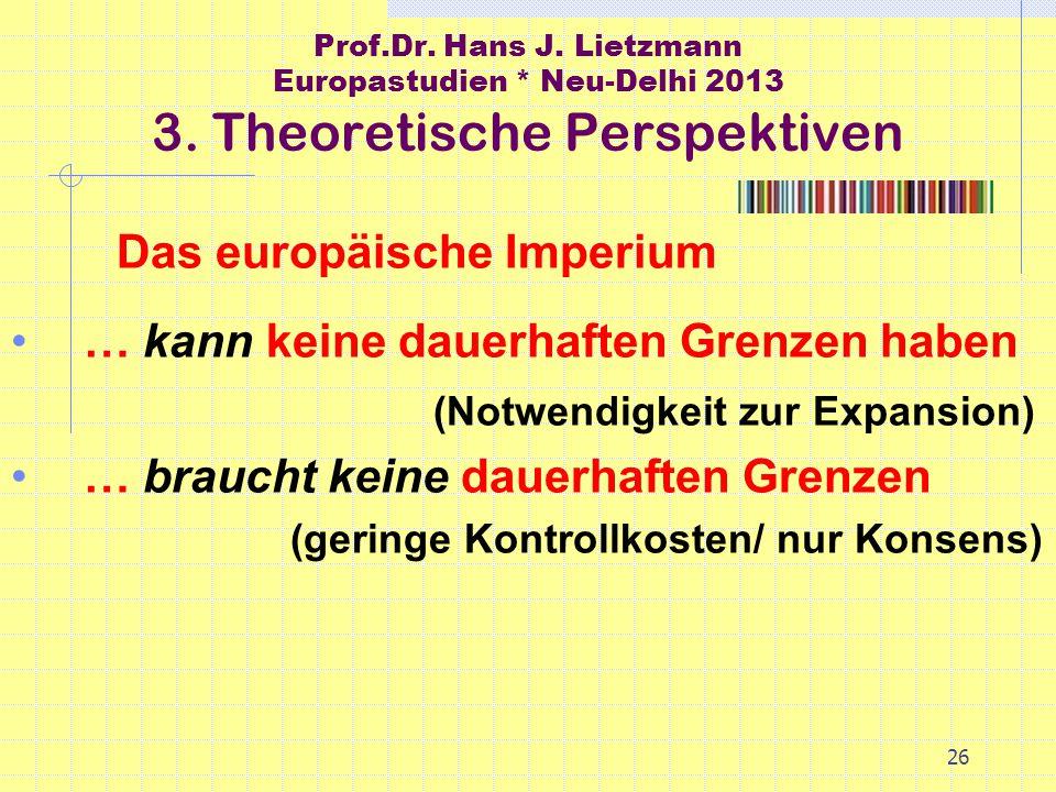 26 Prof.Dr. Hans J. Lietzmann Europastudien * Neu-Delhi 2013 3.