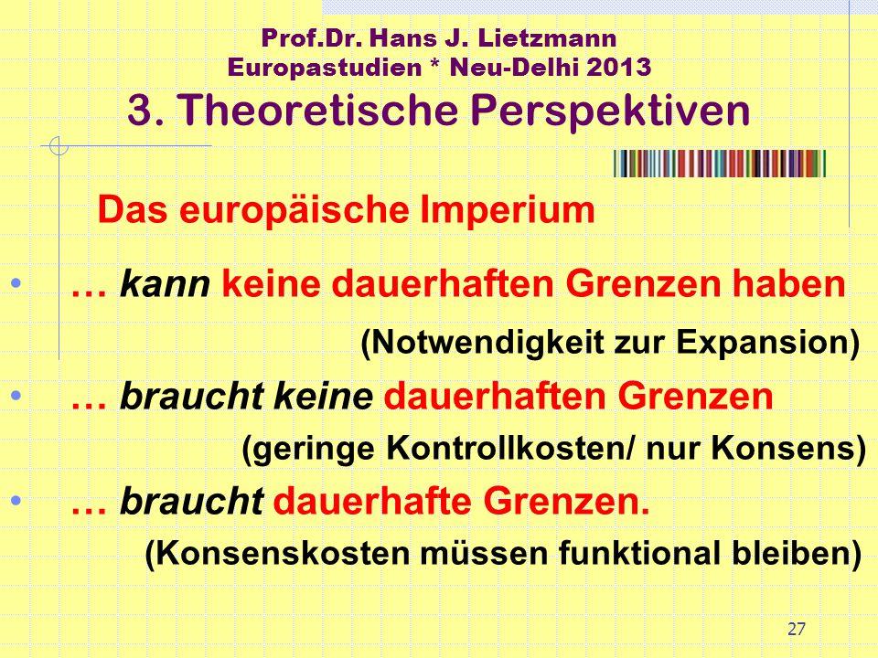 27 Prof.Dr. Hans J. Lietzmann Europastudien * Neu-Delhi 2013 3.