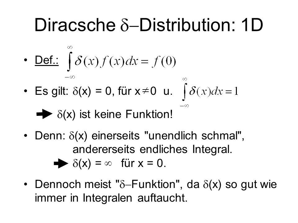 Diracsche Distribution: 1D Def.: Es gilt: (x) = 0, für x 0 u.
