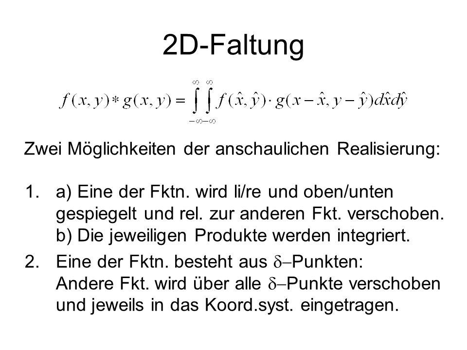 2D-Faltung 1.a) Eine der Fktn. wird li/re und oben/unten gespiegelt und rel. zur anderen Fkt. verschoben. b) Die jeweiligen Produkte werden integriert