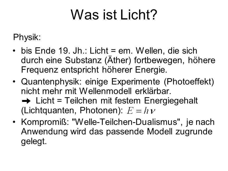 Was ist Licht? bis Ende 19. Jh.: Licht = em. Wellen, die sich durch eine Substanz (Äther) fortbewegen, höhere Frequenz entspricht höherer Energie. Qua