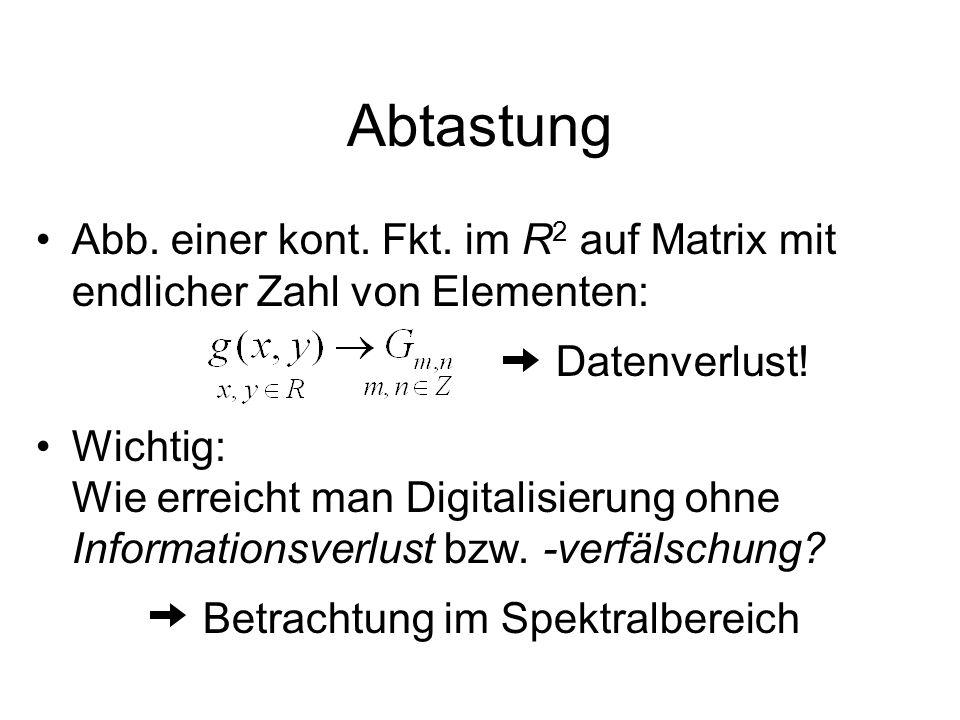 Abtastung Abb. einer kont. Fkt. im R 2 auf Matrix mit endlicher Zahl von Elementen: Datenverlust! Wichtig: Wie erreicht man Digitalisierung ohne Infor