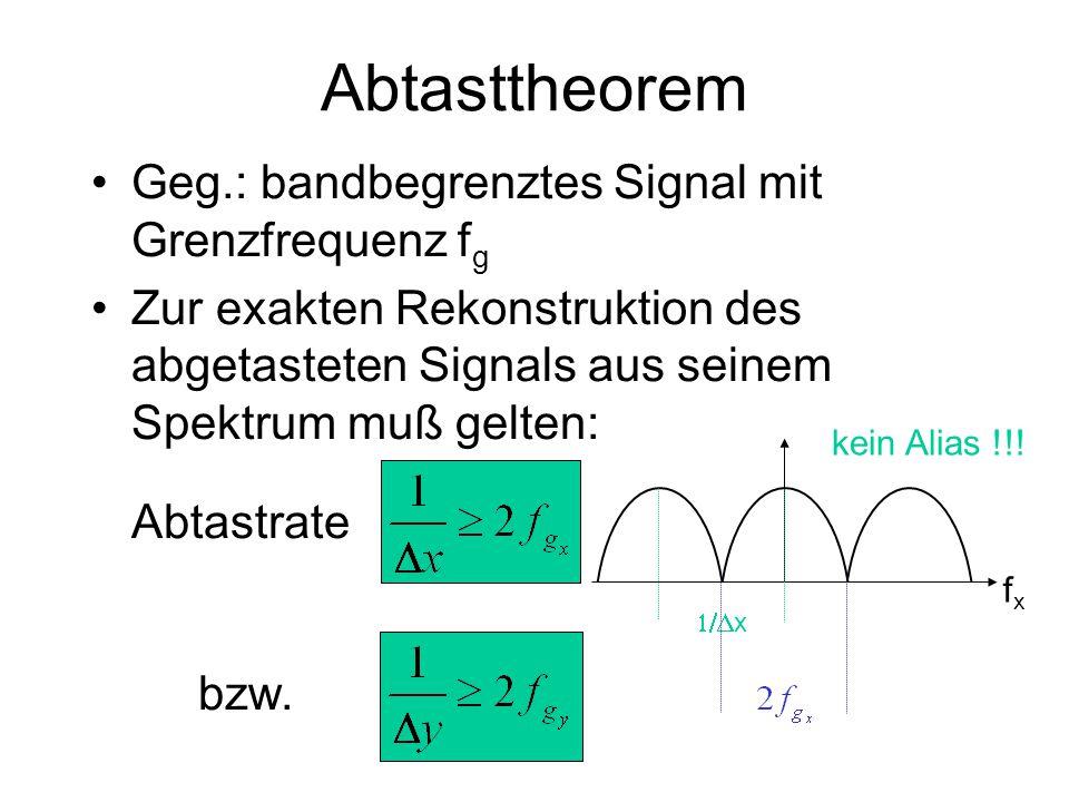 Abtasttheorem Geg.: bandbegrenztes Signal mit Grenzfrequenz f g Zur exakten Rekonstruktion des abgetasteten Signals aus seinem Spektrum muß gelten: Ab