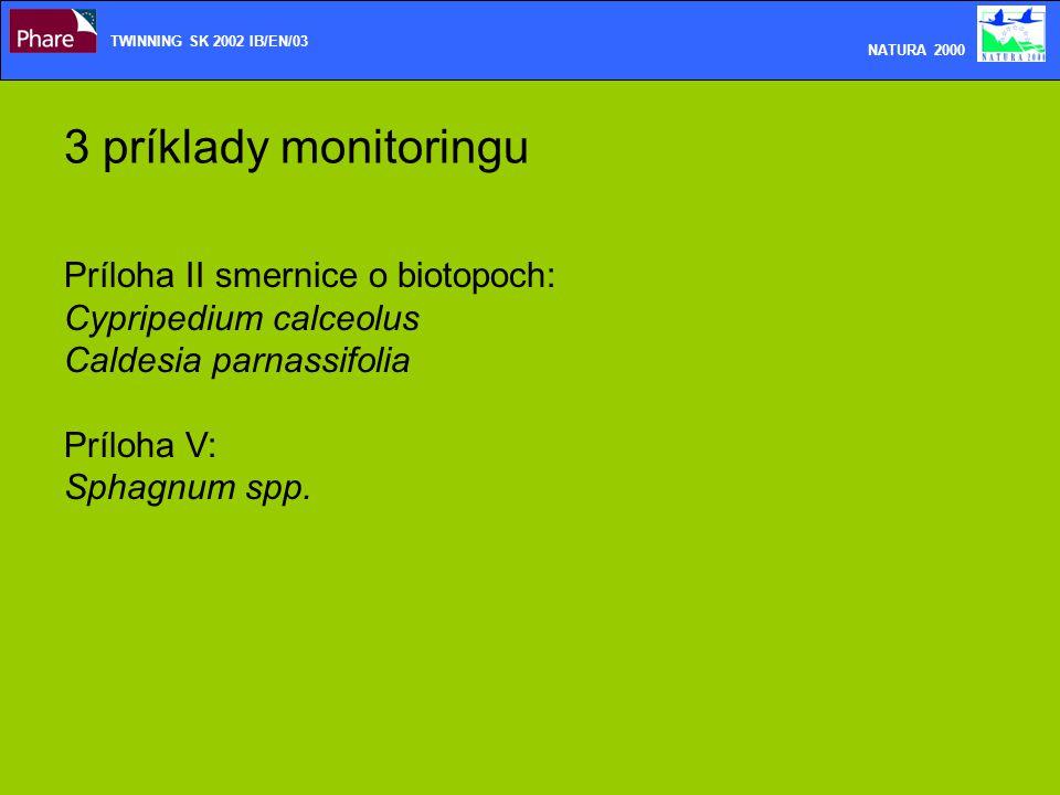 3 príklady monitoringu TWINNING SK 2002 IB/EN/03 NATURA 2000 Príloha II smernice o biotopoch: Cypripedium calceolus Caldesia parnassifolia Príloha V: