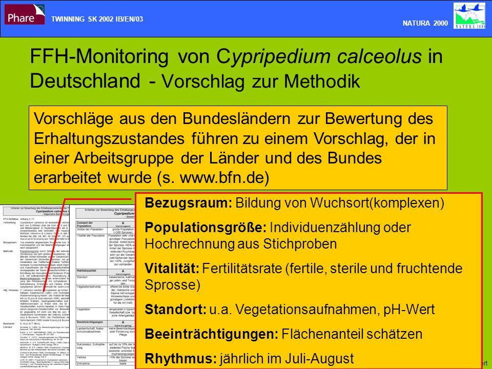 FFH-Monitoring von Cypripedium calceolus in Deutschland - Vorschlag zur Methodik TWINNING SK 2002 IB/EN/03 NATURA 2000 Presentation_plant monitoring_d