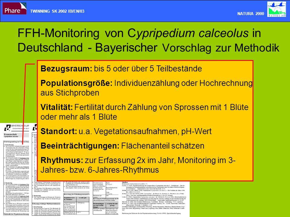 FFH-Monitoring von Cypripedium calceolus in Deutschland - Bayerischer Vorschlag zur Methodik TWINNING SK 2002 IB/EN/03 NATURA 2000 Bezugsraum: bis 5 o