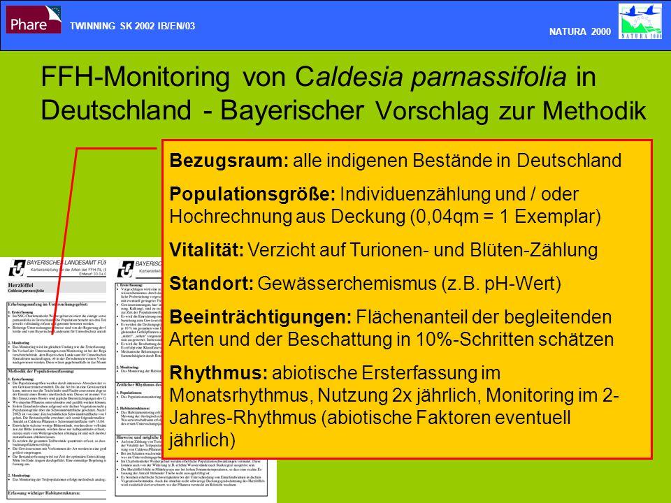 FFH-Monitoring von Caldesia parnassifolia in Deutschland - Bayerischer Vorschlag zur Methodik TWINNING SK 2002 IB/EN/03 NATURA 2000 Bezugsraum: alle i