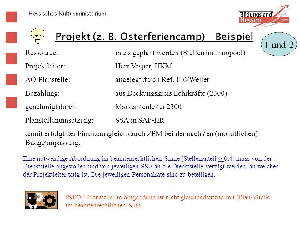 Projekt (z. B. Osterferiencamp) – Beispiel Ressource:muss geplant werden (Stellen im Innopool) Projektleiter:Herr Vesper, HKM AO-Planstelle:angelegt d