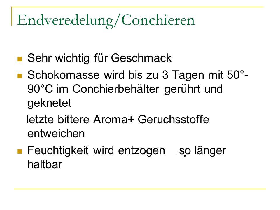 Endveredelung/Conchieren Sehr wichtig für Geschmack Schokomasse wird bis zu 3 Tagen mit 50°- 90°C im Conchierbehälter gerührt und geknetet letzte bitt
