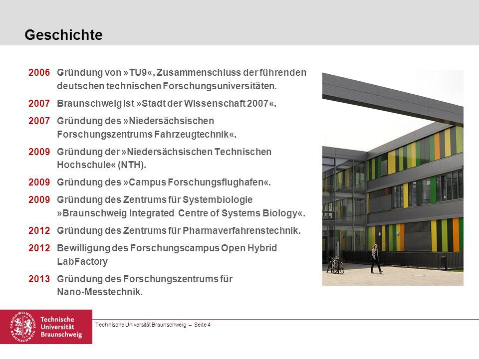 Technische Universität Braunschweig – Seite 4 Geschichte 2006Gründung von »TU9«, Zusammenschluss der führenden deutschen technischen Forschungsunivers