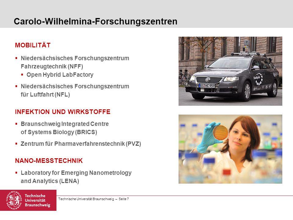 Technische Universität Braunschweig – Seite 7 Carolo-Wilhelmina-Forschungszentren MOBILITÄT Niedersächsisches Forschungszentrum Fahrzeugtechnik (NFF)