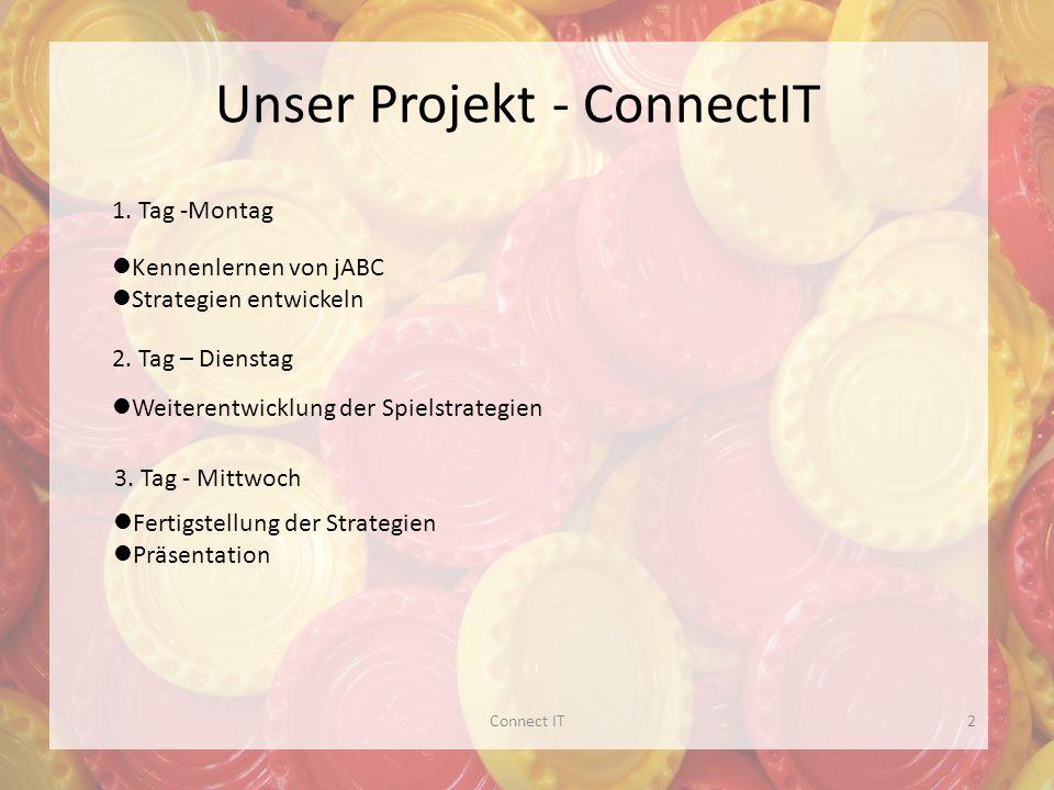 Unser Projekt - ConnectIT Kennenlernen von jABC Strategien entwickeln Weiterentwicklung der Spielstrategien 1.