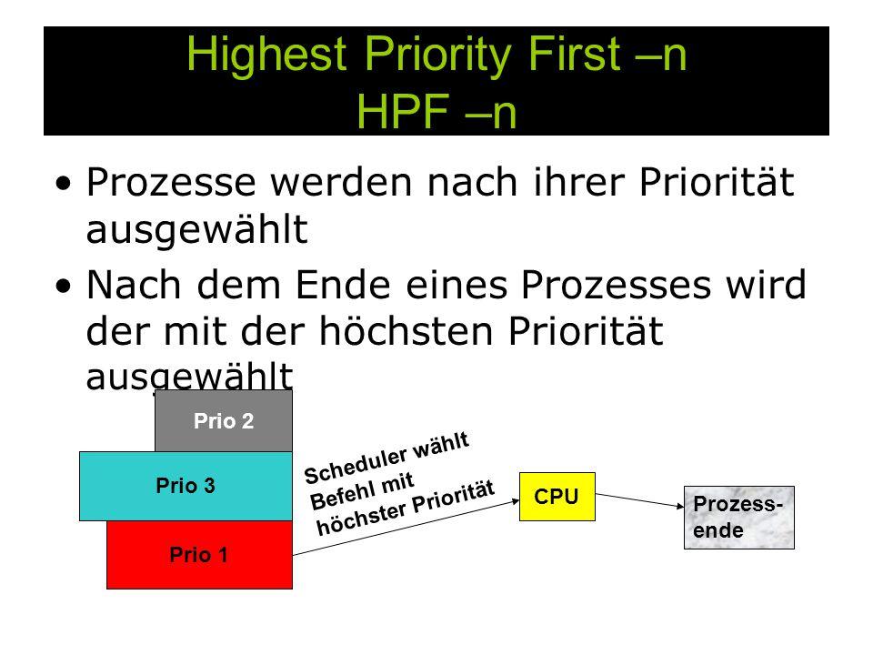 Highest Priority First –n HPF –n Prozesse werden nach ihrer Priorität ausgewählt Nach dem Ende eines Prozesses wird der mit der höchsten Priorität ausgewählt Prio 1 Prio 2 Prio 3 CPU Prozess- ende Scheduler wählt Befehl mit höchster Priorität