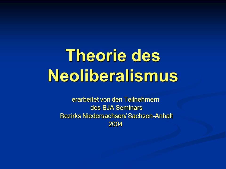 Theorie des Neoliberalismus erarbeitet von den Teilnehmern des BJA Seminars des BJA Seminars Bezirks Niedersachsen/ Sachsen-Anhalt Bezirks Niedersachs