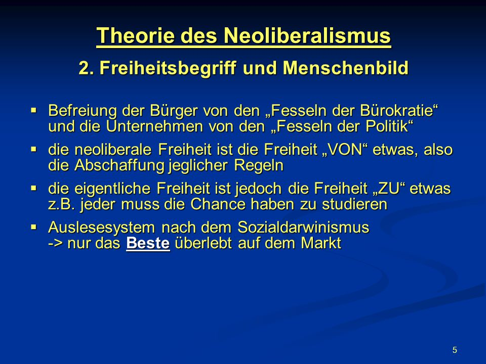 5 Theorie des Neoliberalismus 2.