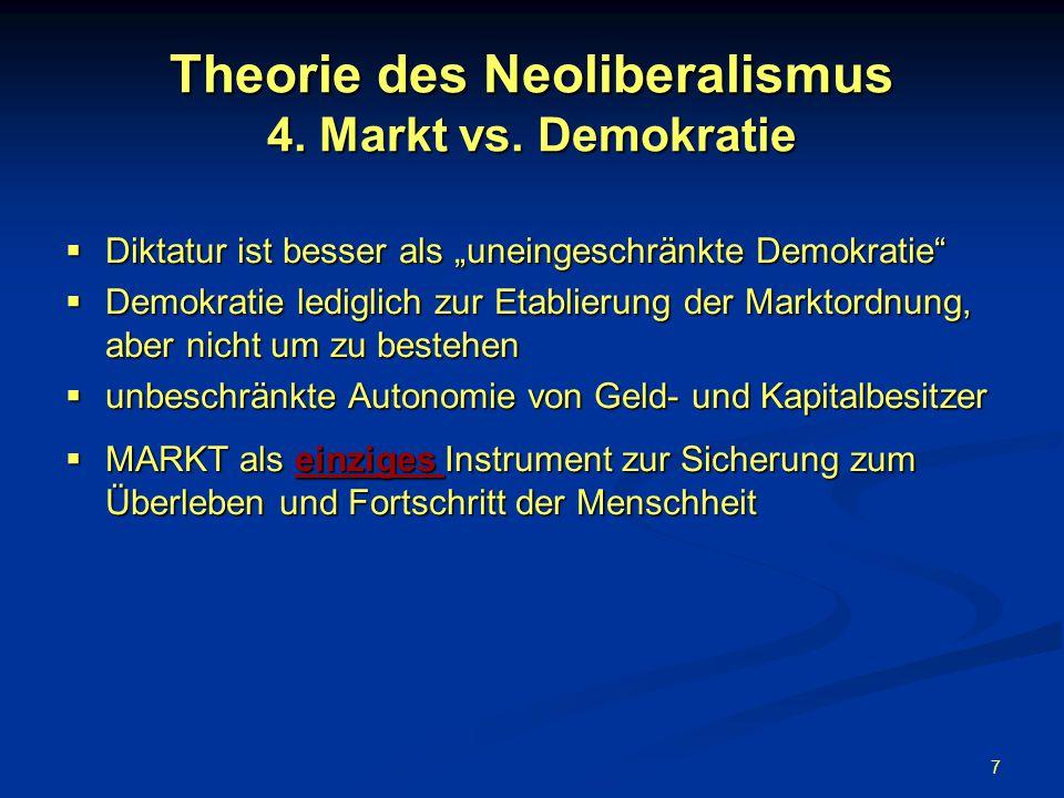 7 Theorie des Neoliberalismus 4. Markt vs. Demokratie Diktatur ist besser als uneingeschränkte Demokratie Diktatur ist besser als uneingeschränkte Dem
