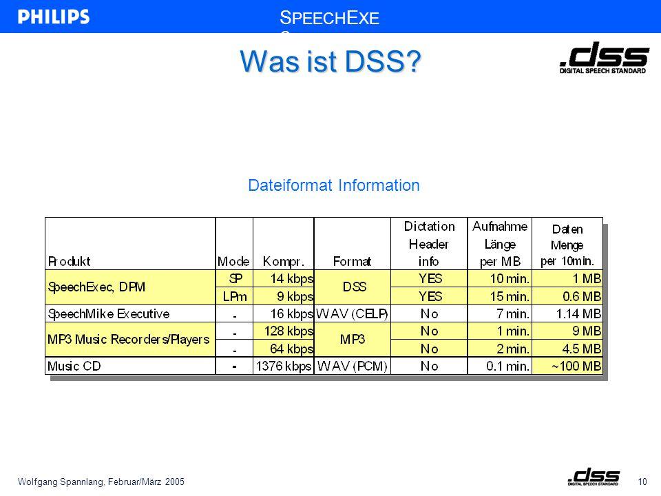 Wolfgang Spannlang, Februar/März 200510 S PEECH E XE C Was ist DSS? Dateiformat Information