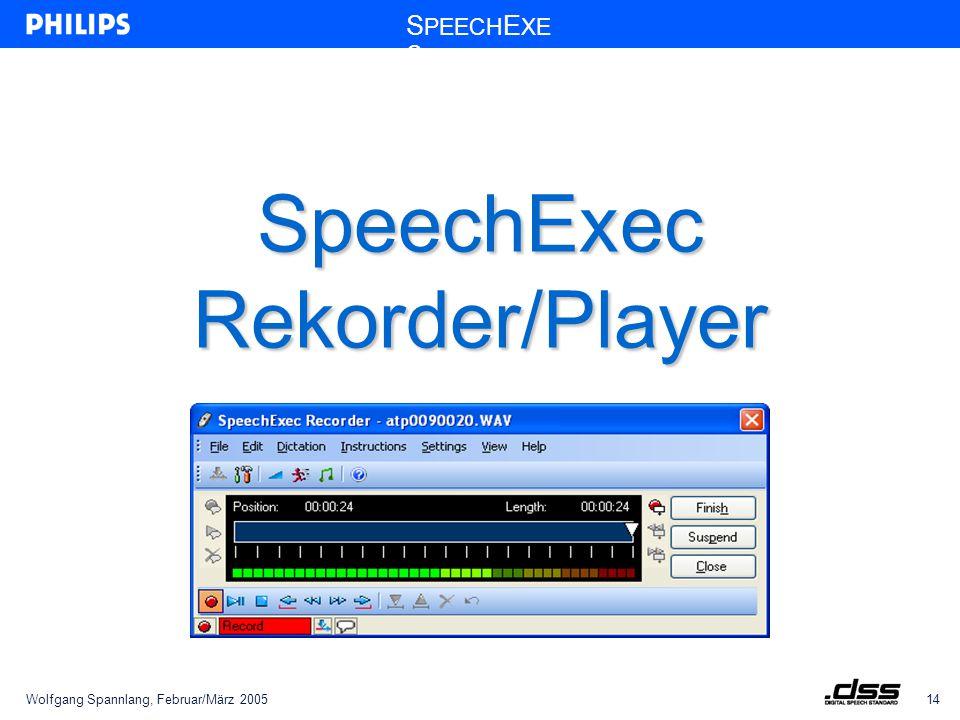 Wolfgang Spannlang, Februar/März 200514 S PEECH E XE C SpeechExec Rekorder/Player