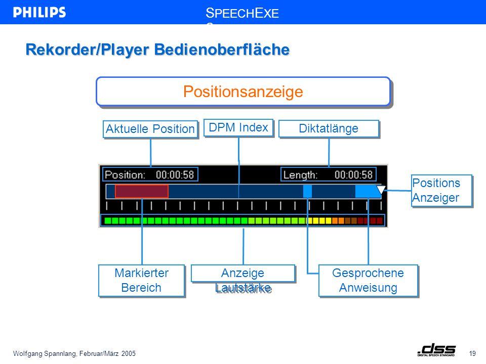 Wolfgang Spannlang, Februar/März 200519 S PEECH E XE C Rekorder/Player Bedienoberfläche Positions Anzeiger Anzeige Lautstärke Gesprochene Anweisung Aktuelle Position Diktatlänge Markierter Bereich Positionsanzeige DPM Index