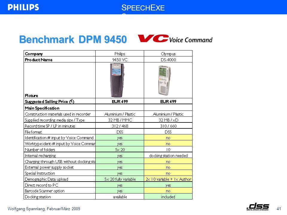 Wolfgang Spannlang, Februar/März 200541 S PEECH E XE C Benchmark DPM 9450