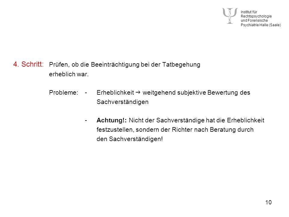 Institut für Rechtspsychologie und Forensische Psychiatrie Halle (Saale) 10 4.