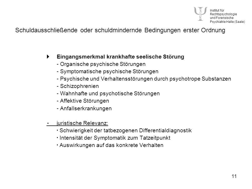 Institut für Rechtspsychologie und Forensische Psychiatrie Halle (Saale) 11 Schuldausschließende oder schuldmindernde Bedingungen erster Ordnung Eingangsmerkmal krankhafte seelische Störung - Organische psychische Störungen - Symptomatische psychische Störungen - Psychische und Verhaltensstörungen durch psychotrope Substanzen - Schizophrenien - Wahnhafte und psychotische Störungen - Affektive Störungen - Anfallserkrankungen ۰ juristische Relevanz: Schwierigkeit der tatbezogenen Differentialdiagnostik Intensität der Symptomatik zum Tatzeitpunkt Auswirkungen auf das konkrete Verhalten