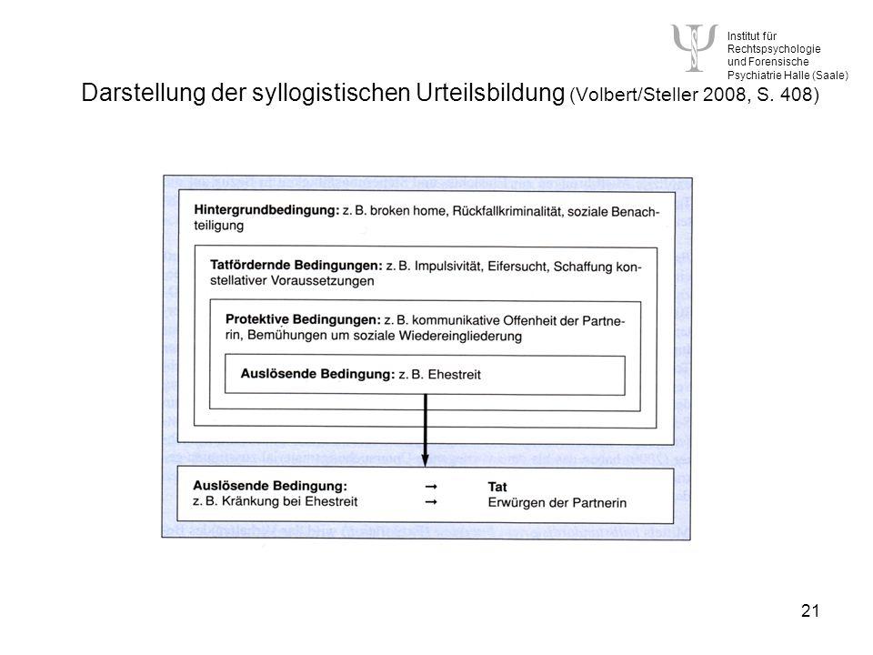 Institut für Rechtspsychologie und Forensische Psychiatrie Halle (Saale) 21 Darstellung der syllogistischen Urteilsbildung (Volbert/Steller 2008, S.