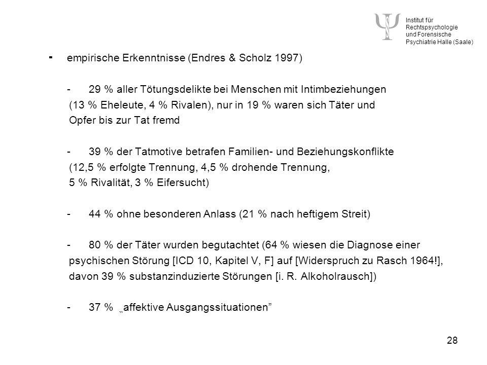 Institut für Rechtspsychologie und Forensische Psychiatrie Halle (Saale) 28 empirische Erkenntnisse (Endres & Scholz 1997) -29 % aller Tötungsdelikte bei Menschen mit Intimbeziehungen (13 % Eheleute, 4 % Rivalen), nur in 19 % waren sich Täter und Opfer bis zur Tat fremd -39 % der Tatmotive betrafen Familien- und Beziehungskonflikte (12,5 % erfolgte Trennung, 4,5 % drohende Trennung, 5 % Rivalität, 3 % Eifersucht) -44 % ohne besonderen Anlass (21 % nach heftigem Streit) -80 % der Täter wurden begutachtet (64 % wiesen die Diagnose einer psychischen Störung [ICD 10, Kapitel V, F] auf [Widerspruch zu Rasch 1964!], davon 39 % substanzinduzierte Störungen [i.