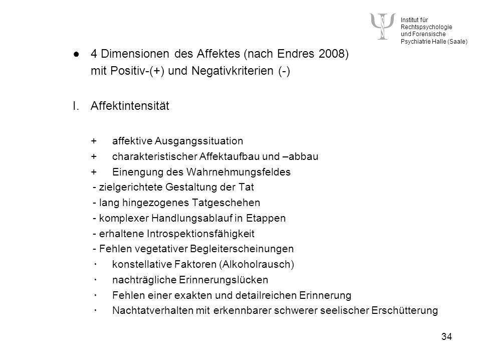 Institut für Rechtspsychologie und Forensische Psychiatrie Halle (Saale) 34 4 Dimensionen des Affektes (nach Endres 2008) mit Positiv-(+) und Negativkriterien (-) I.