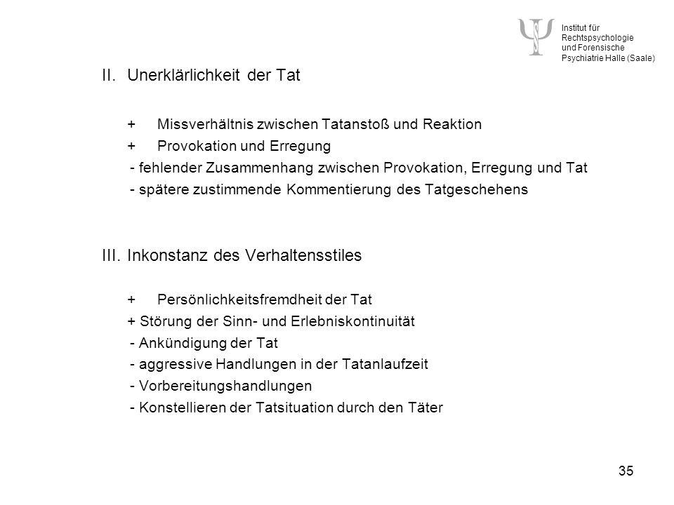 Institut für Rechtspsychologie und Forensische Psychiatrie Halle (Saale) 35 II.