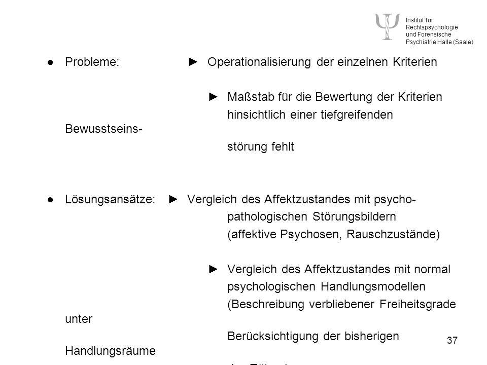 Institut für Rechtspsychologie und Forensische Psychiatrie Halle (Saale) 37 Probleme:Operationalisierung der einzelnen Kriterien Maßstab für die Bewertung der Kriterien hinsichtlich einer tiefgreifenden Bewusstseins- störung fehlt Lösungsansätze:Vergleich des Affektzustandes mit psycho- pathologischen Störungsbildern (affektive Psychosen, Rauschzustände) Vergleich des Affektzustandes mit normal psychologischen Handlungsmodellen (Beschreibung verbliebener Freiheitsgrade unter Berücksichtigung der bisherigen Handlungsräume des Täters)