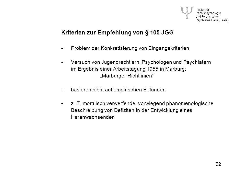 Institut für Rechtspsychologie und Forensische Psychiatrie Halle (Saale) 52 Kriterien zur Empfehlung von § 105 JGG -Problem der Konkretisierung von Eingangskriterien -Versuch von Jugendrechtlern, Psychologen und Psychiatern im Ergebnis einer Arbeitstagung 1955 in Marburg: Marburger Richtlinien -basieren nicht auf empirischen Befunden -z.