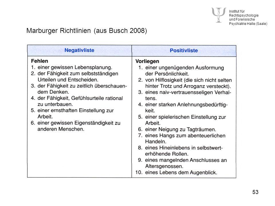 Institut für Rechtspsychologie und Forensische Psychiatrie Halle (Saale) 53 Marburger Richtlinien (aus Busch 2008)