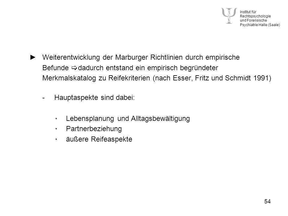 Institut für Rechtspsychologie und Forensische Psychiatrie Halle (Saale) 54 Weiterentwicklung der Marburger Richtlinien durch empirische Befunde dadurch entstand ein empirisch begründeter Merkmalskatalog zu Reifekriterien (nach Esser, Fritz und Schmidt 1991) -Hauptaspekte sind dabei: ۰Lebensplanung und Alltagsbewältigung ۰Partnerbeziehung ۰äußere Reifeaspekte