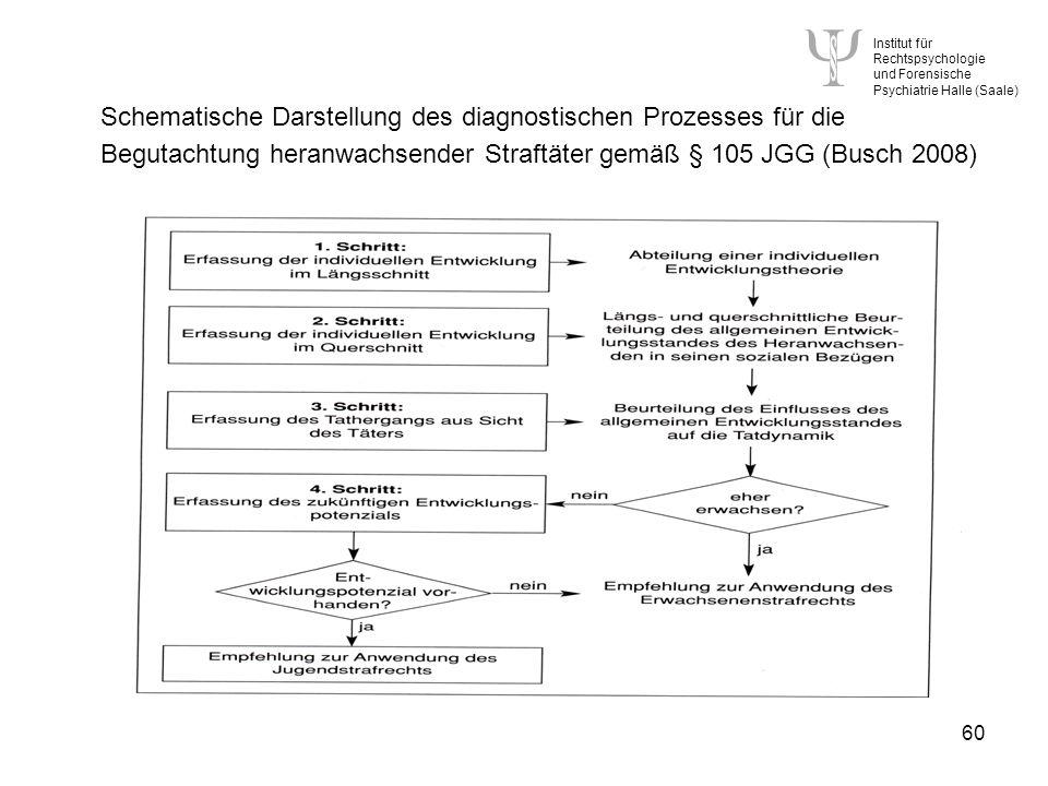 Institut für Rechtspsychologie und Forensische Psychiatrie Halle (Saale) 60 Schematische Darstellung des diagnostischen Prozesses für die Begutachtung heranwachsender Straftäter gemäß § 105 JGG (Busch 2008)