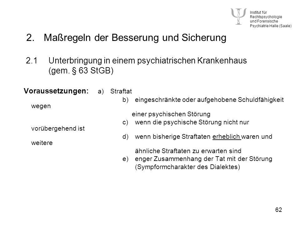 Institut für Rechtspsychologie und Forensische Psychiatrie Halle (Saale) 62 2.Maßregeln der Besserung und Sicherung 2.1Unterbringung in einem psychiatrischen Krankenhaus (gem.