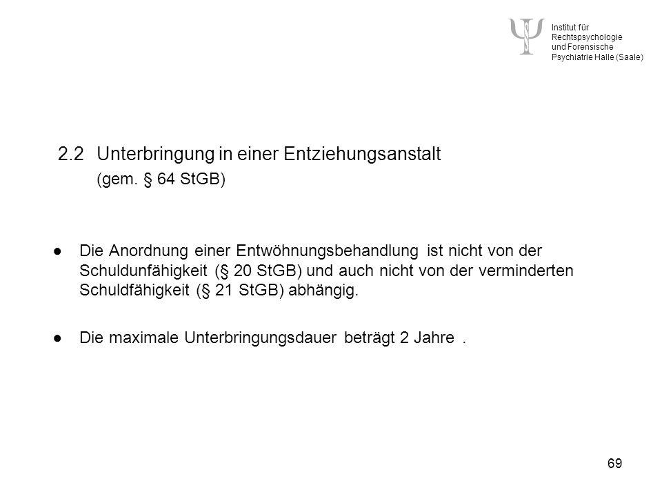 Institut für Rechtspsychologie und Forensische Psychiatrie Halle (Saale) 69 2.2Unterbringung in einer Entziehungsanstalt (gem.