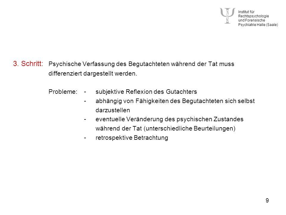 Institut für Rechtspsychologie und Forensische Psychiatrie Halle (Saale) 9 3.