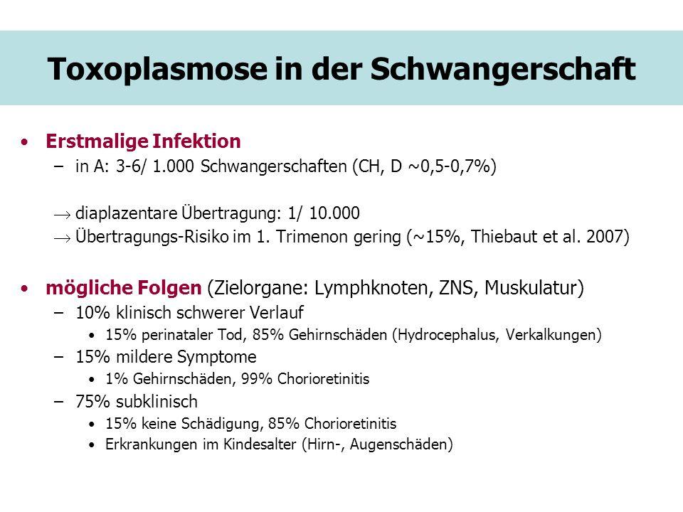 Toxoplasmose in der Schwangerschaft Erstmalige Infektion –in A: 3-6/ 1.000 Schwangerschaften (CH, D ~0,5-0,7%) diaplazentare Übertragung: 1/ 10.000 Üb