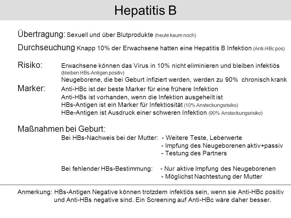 Übertragung: Sexuell und über Blutprodukte (heute kaum noch) Durchseuchung Knapp 10% der Erwachsene hatten eine Hepatitis B Infektion (Anti-HBc pos) R