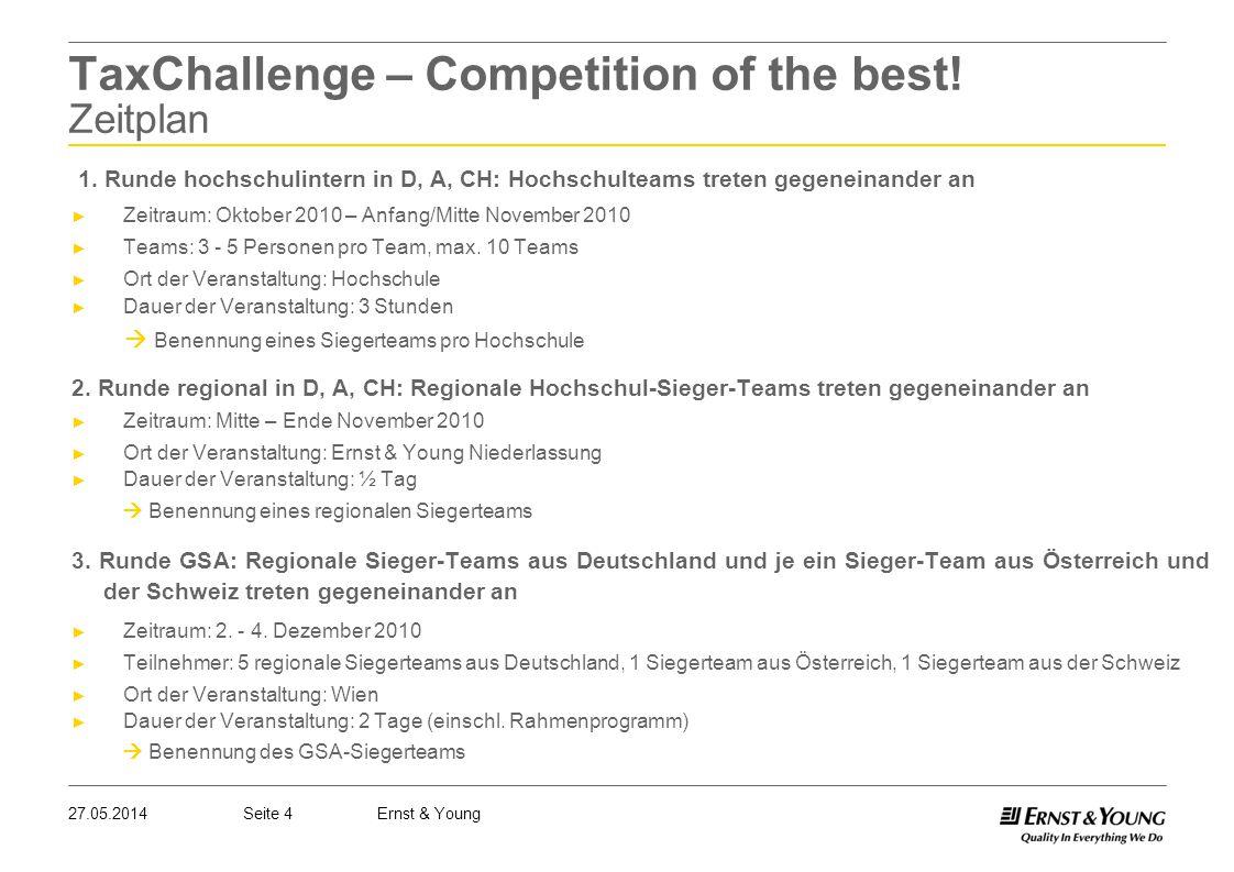 Seite 427.05.2014Ernst & Young TaxChallenge – Competition of the best! Zeitplan 1. Runde hochschulintern in D, A, CH: Hochschulteams treten gegeneinan