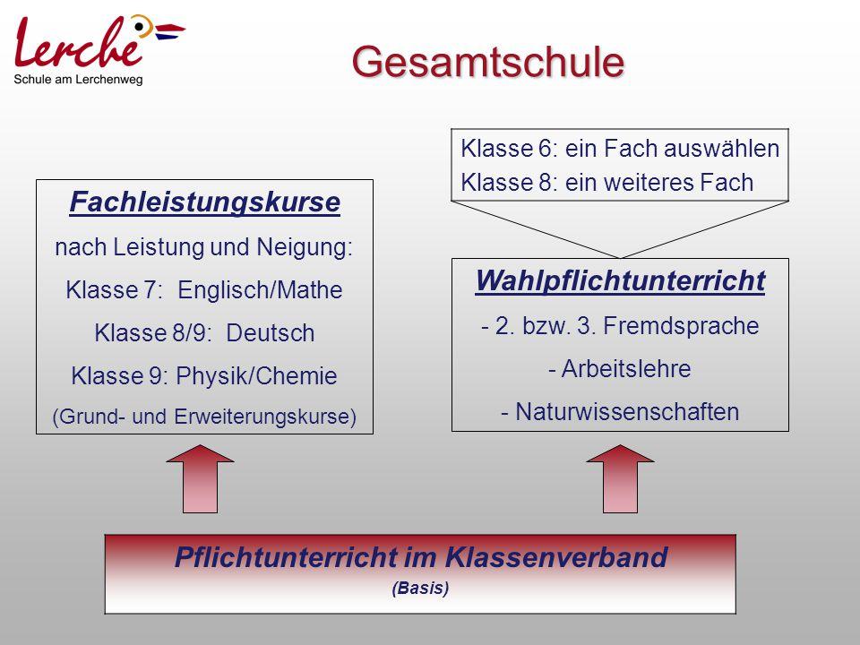 Gesamtschule Pflichtunterricht im Klassenverband (Basis) Fachleistungskurse nach Leistung und Neigung: Klasse 7: Englisch/Mathe Klasse 8/9: Deutsch Kl
