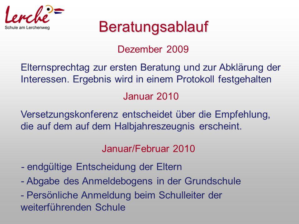 Dezember 2009 Elternsprechtag zur ersten Beratung und zur Abklärung der Interessen. Ergebnis wird in einem Protokoll festgehalten Januar 2010 Versetzu