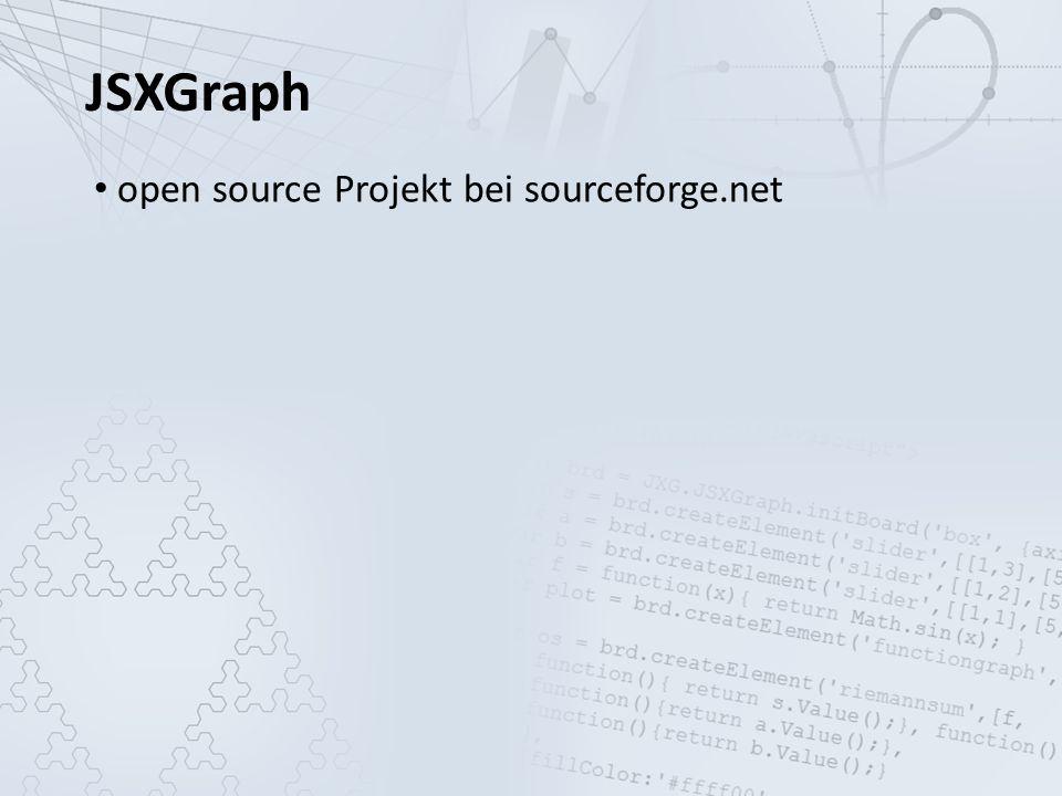 JSXGraph open source Projekt bei sourceforge.net entwickelt an der Universität Bayreuth