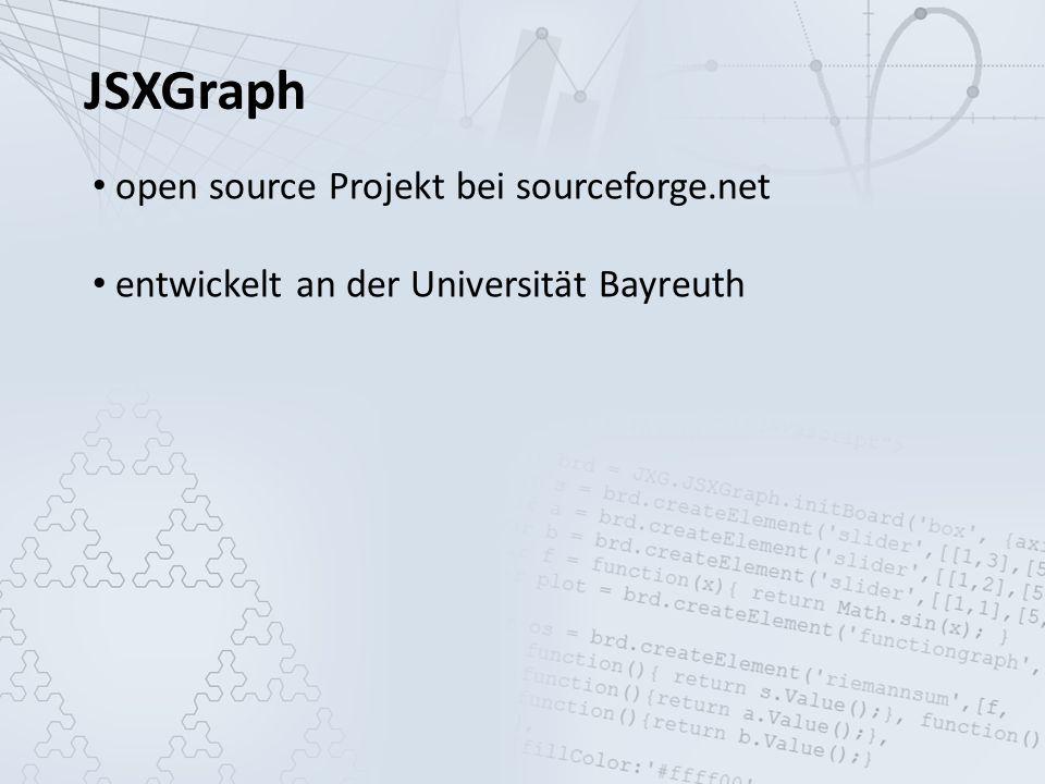 JSXGraph open source Projekt bei sourceforge.net entwickelt an der Universität Bayreuth komplett in JavaScript implementiert