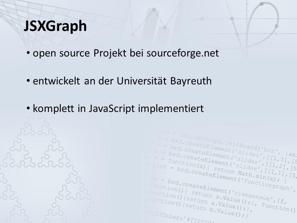 JSXGraph open source Projekt bei sourceforge.net entwickelt an der Universität Bayreuth komplett in JavaScript implementiert kein Plugin nötig
